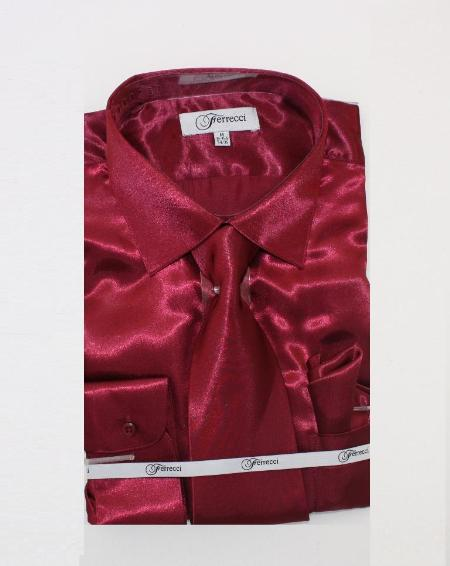 Fer_SH1 Shiny Luxurious Shirt Burgundy ~ Maroon ~ Wine Color