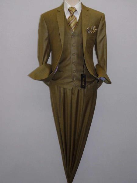 Men's Three Piece Dijon Mustard Notch Lapel Vested Shiny Sharkskin Suit & Liquid Jet Black Shawl Tuxedo
