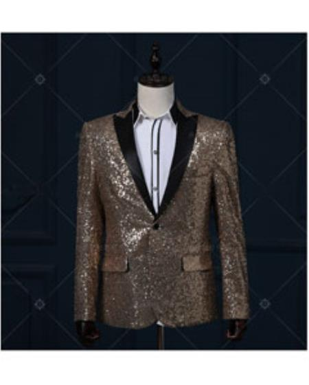 Gold / Yellow & Black Real Sequin With Black Peak Lapel 1920s Tuxedo Style Dinner Blazer ~ Suit Jacket Shin