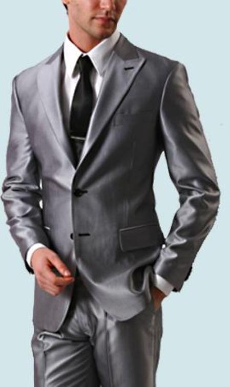 Product# LAN_SH77 Shiny Sharkskin Silver Gray 2 Button Style Jacket Flat Front Pants New Style