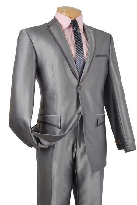 Grey Tuxedo & Formal Shiny Flashy Grey ~ Gray Trimmed Two Button Slim narrow Style Fit Suits for Online