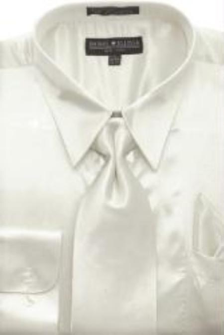 Product# AG442 Ivory Shiny Silky Satin Dress Shirt/Tie
