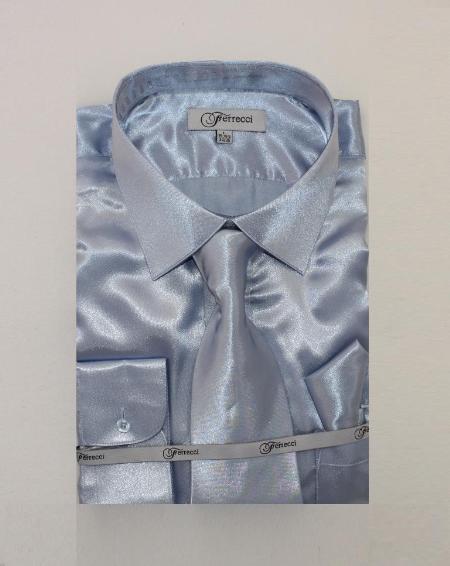 Fer_SH1 Shiny Luxurious Shirt Light Blue ~ Sky Blue