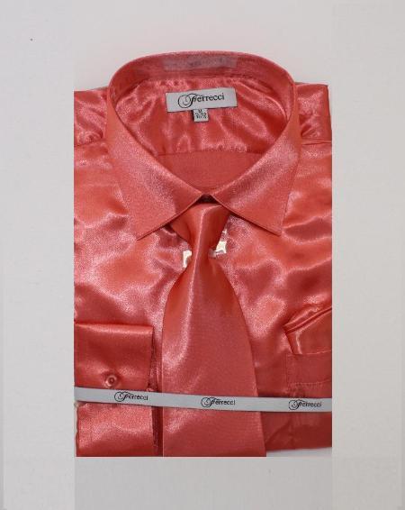 Fer_SH1 Shiny Luxurious Shirt Coral ~ Peach