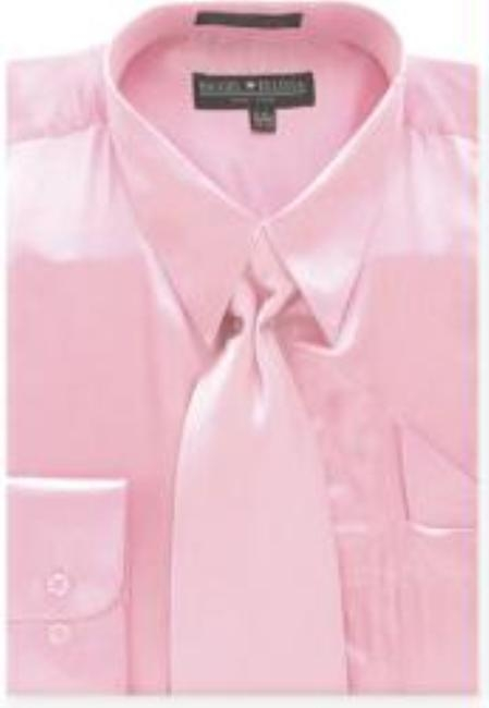 Product# DS565 Pink Shiny Silky Satin Dress Shirt/Tie