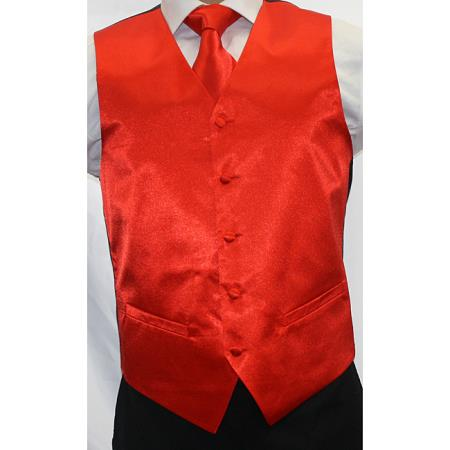 Product# PNV62 Shiny red color shade Microfiber 3-Piece Vest