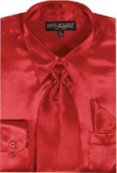 Product# LO712 red color shade Shiny Silky Satin Dress Shirt/Tie