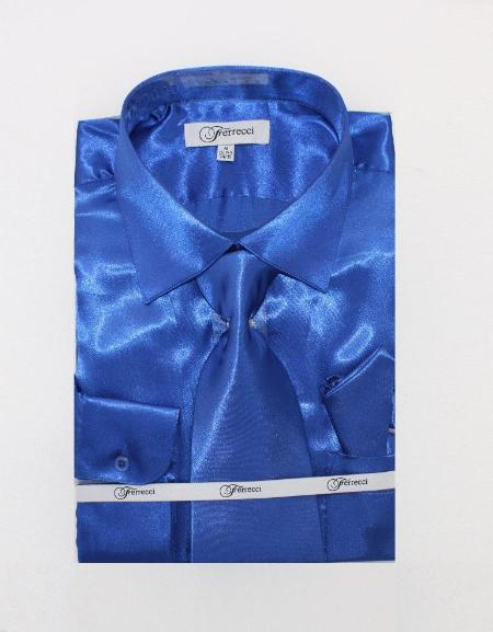 Fer_SH1 Shiny Luxurious Shirt royal blue pastel color