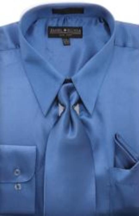 Product# HA452 royal blue pastel color Shiny Silky Satin Dress Shirt/Tie