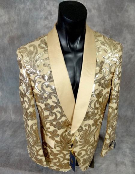 Product# CH2441 mens Unique Shiny Fashion Prom sequin fancy floral designed gold party Blazer ~ Suit Jacket