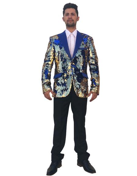 Men's Unique Shiny Flashy Fashion Prom Sequin Single Breasted Royal Blue Suit For Men Perfect  ~ Gold 2 Button Peak Lapel Blazer ~ Suit Jacket~ Sport Coat Perfect For Prom Clothe - Prom Outfits For Guys