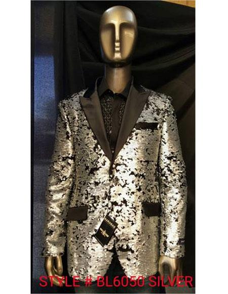 men's Fashion Unique Shiny Fashion Prom Sequin Black and Silver Suit Paisley Blazer Sport coat Tuxedo Jacket  Perfect For Prom Clothe - Prom Outfits For Guys