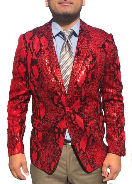 ProductST_PR100 Mens Snakeskin Sequin ~ Unique Shiny Fashion Prom ~ Paisley Sport Coat Red Fashion Blazer