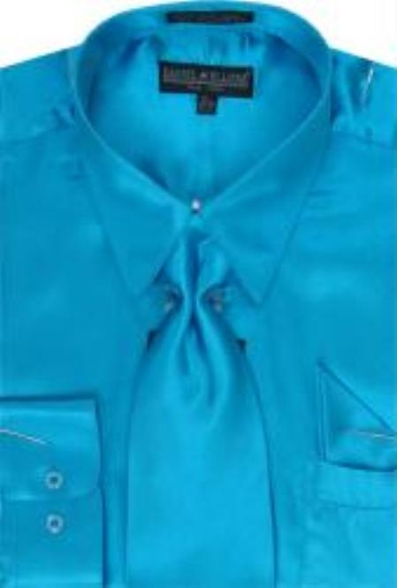 Product# KK123 Turquiose Shiny Silky Satin Dress Shirt/Tie