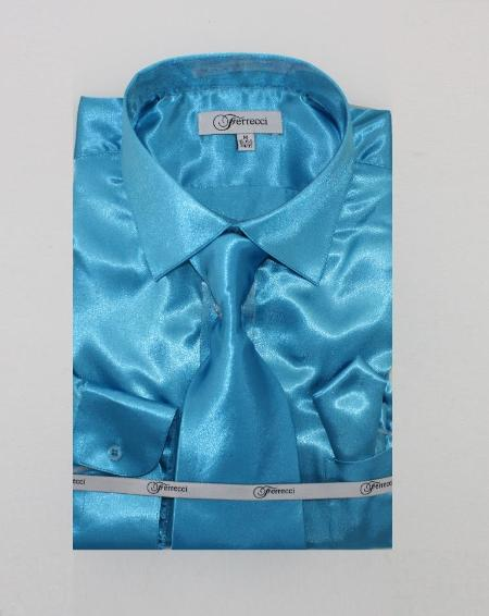 Fer_SH1 Shiny Luxurious Shirt turquoise ~ Light Blue Stage Party