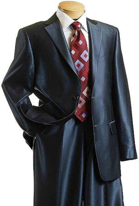 XC9014 Sharkskin Shiny Sheen 2 Button Style Dark Blue Sharkskin Suit
