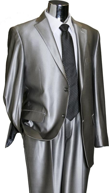Product# RB4929 Shiny 2 Button Style Silver Grey ~ Gray Flashy Sharkskin Suit