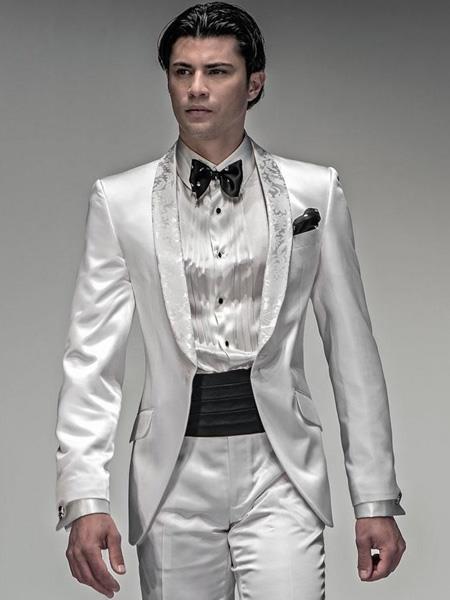 Mens Shiny White Suit