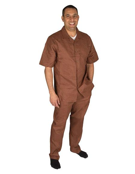 Men's Brown Short Sleeve Button Closure 100% Linen 2 Piece With Pleated Pant Shirt