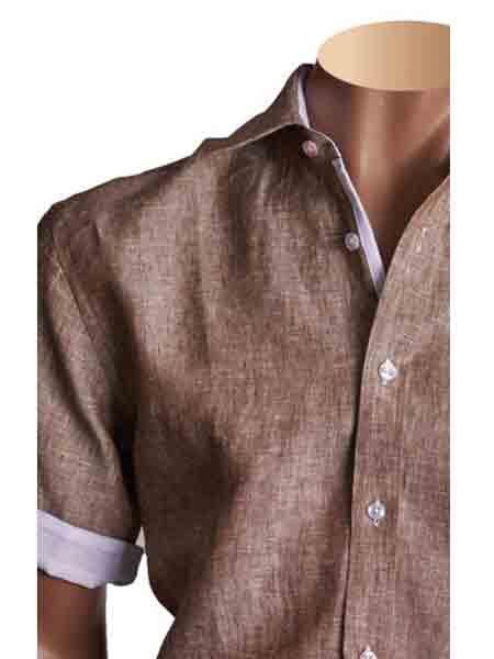 Product# SM809 100% Linen Summer brown color shade Short Sleeve Fashion Shirt
