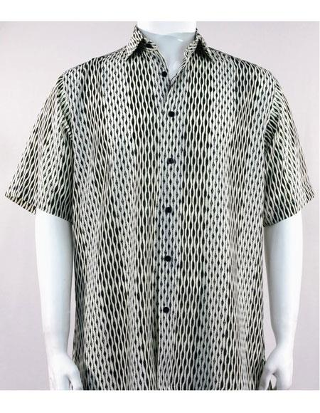Product# 61201 Bassiri Black Short Sleeve button down mens fashion shirt