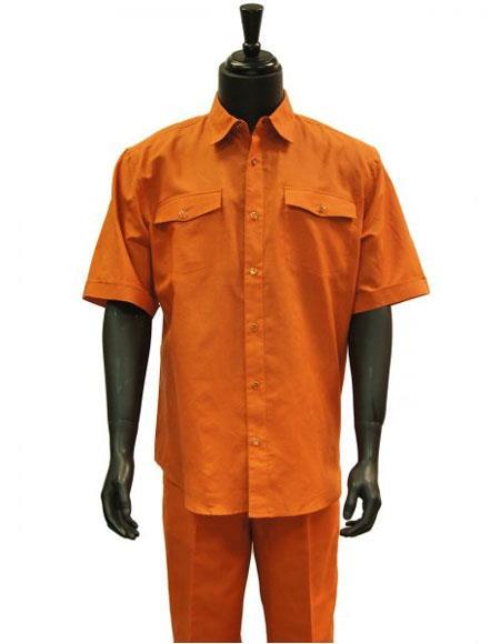 Mens Orange Two Piece