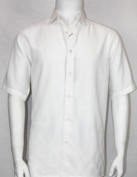 Product# 61101 Bassiri button down Short Sleeve mens fashion White shirt