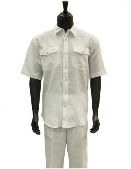 Mens Short Sleeve White
