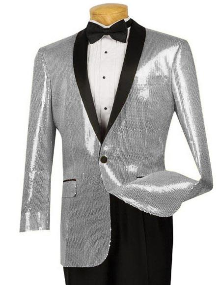 Product# PRT_SQ Mens Black Lapel Blazer ~ Sport Coat Tuxedo Dinner Jacket Silver Sequin ~ Unique Shiny Fashion Prom Paisley Clearance Sale Online