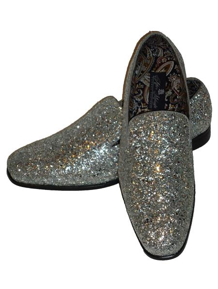 Mens Silver Slip On