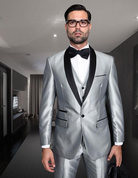 Product# JSM-6757 Mens Shiny Sharkskin Tuxedo Silver Gray ~ Light Grey Black Lapel Two Toned Vested Tuxedo Clearance Sale Online