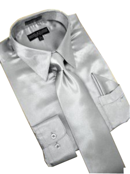 Product# PW782 Satin Silver Grey Dress Shirt Tie Hanky Set