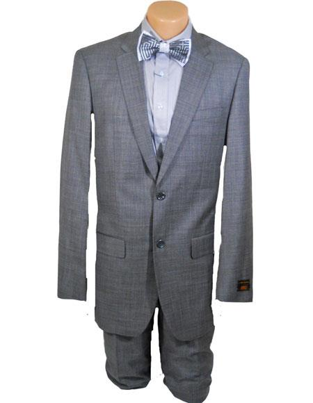 Men's High Fashion Single Breasted 100% Wool Silver Grey Extra Long Suits Flat Front Pants