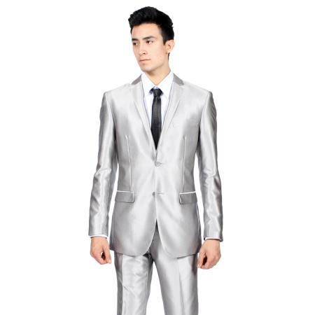 Product# PN_D70 Slim narrow Style Fit Shiny Silver Tuxedo Formal Looking Sharkskin Suit