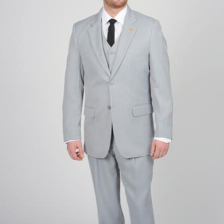 FP673 Silver Two Button Vested Suit