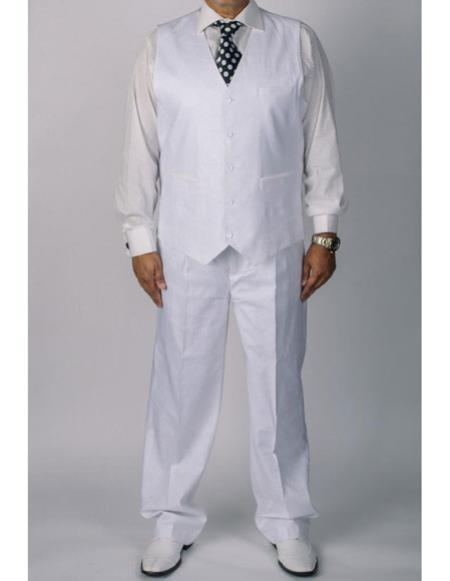 men's silversilk white 100% coated Men's 2 Piece Linen Causal Outfits vest and pants 2 piece set / Beach Wedding Attire For Groom