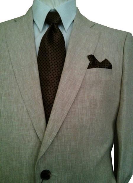 Men's 2 Button Solid Beige Notch Lapel 100% Linen Single Breasted Suit