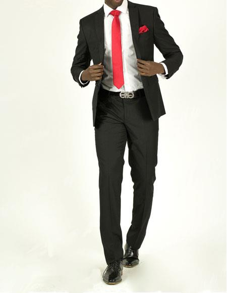 men's Black Pick Stitched 2 Button Slim Fit Skinny Suit