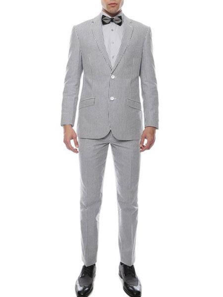 men's Black 2 Button Single Breasted Premium Comfort Cotton Slim Fit Cheap priced men's Seersucker Suit Sale Suit