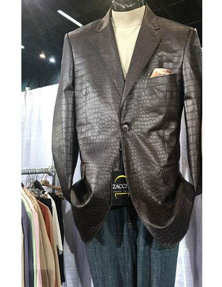 men's Brown Single Breasted Ostrich looking Crocodile Print Blazer