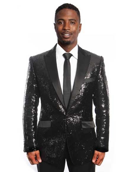 Sequin Blazer Mens Black Sequin 1920s Tuxedo Style / Dinner Jacket Peak Lapel Blazer Sport coat