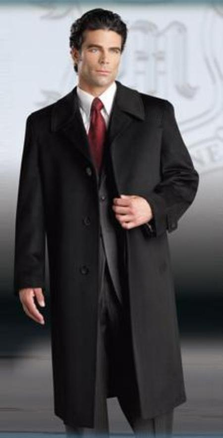 Product# Ronald Luxury Cashmere Single Breasted 3 Button Style Three Quarter Topcoat~overcoats outerwear Notched Lap
