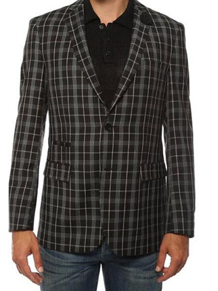 Ferrecci men's Plaid Slim Fit Black Blazer Dinner Jacket