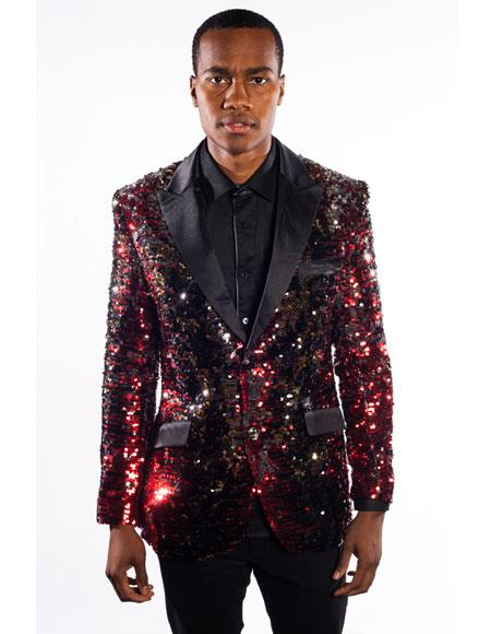 Product# AP788 Mens Barabas Black/Red Duo Tone Single Breasted Regular Fit Sequins Design 2 Buttons Blazer