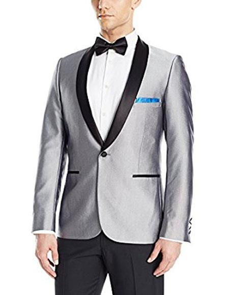 Men's Single Breasted Black Shawl Lapel Unique Shiny Fashion Prom Silver Blazer Perfect For Prom Clothe - Prom Outfits For Guys