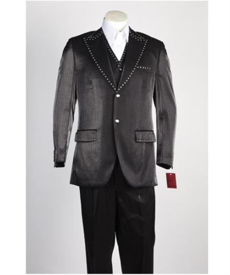 JSM-446 Men's 2 Piece Black Single Breasted Suit