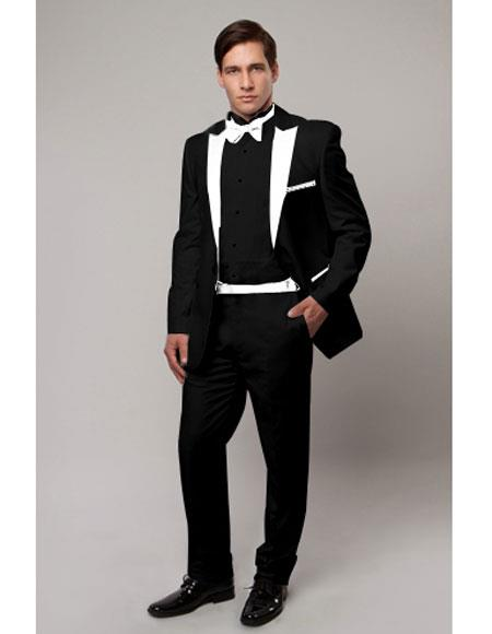Product# CH1988 Slim Tux black with white lapel