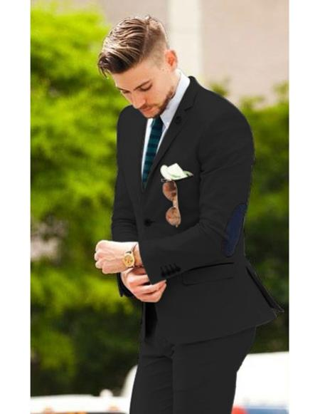 Product CH2488 Mens high fashion Black Shawl Lapel vested tuxedo suit  paired with stylish red shoes