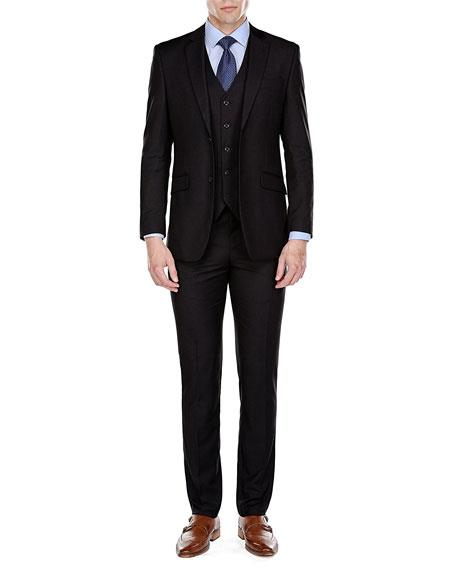Product# JSM-6784 Men's Single Breasted 2 Button Black Slim Fit 3 Piece Suits