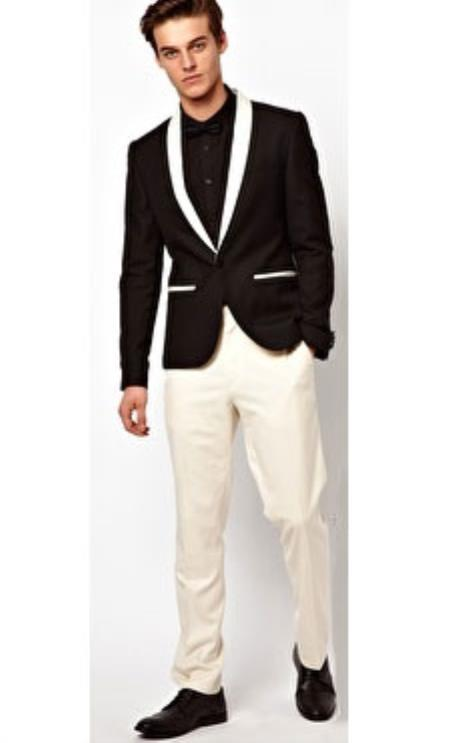Product# SM4961 Men's Shawl Lapel Button Closure Single Breasted Black Tuxedo Suit